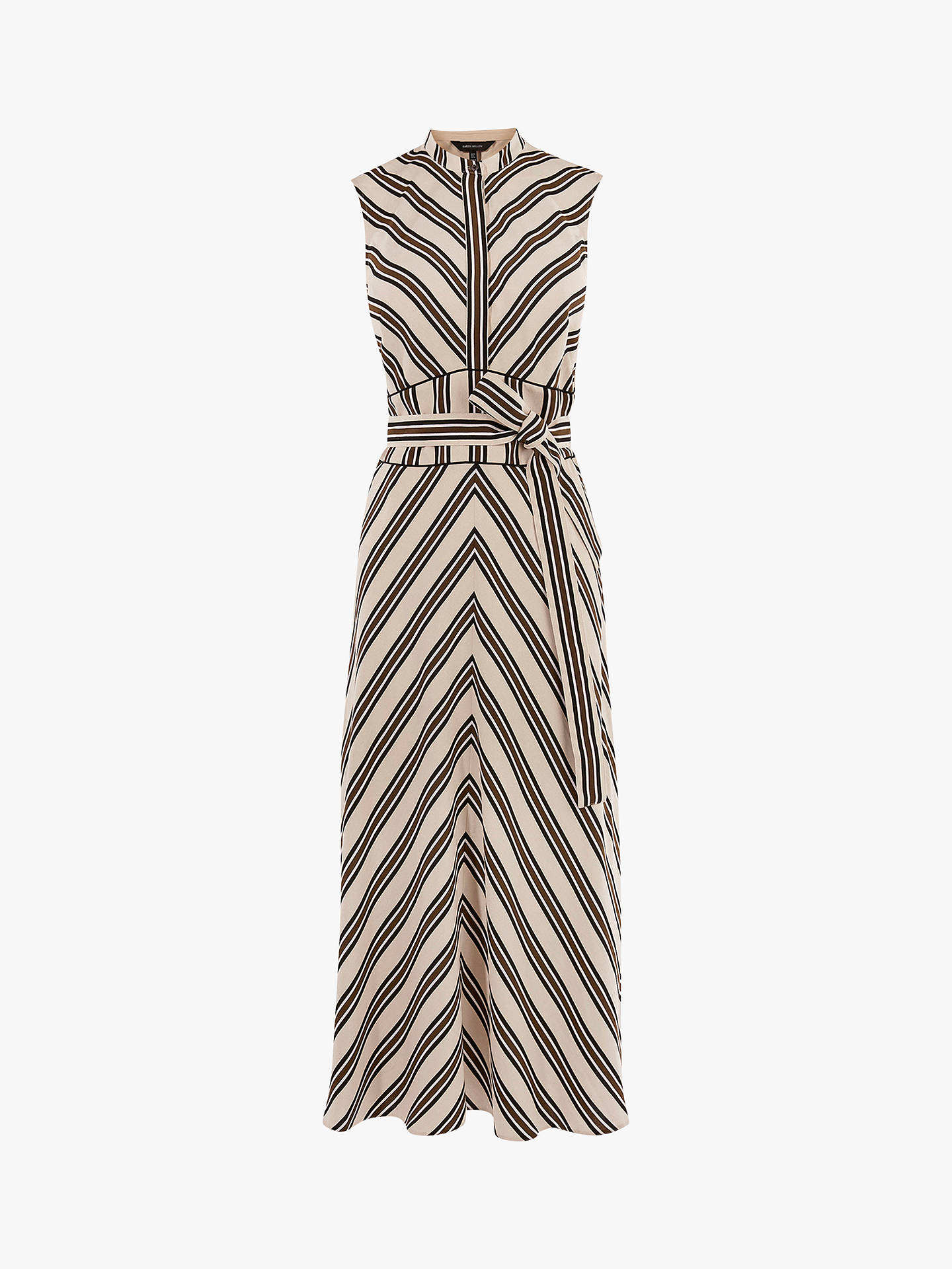 Buy Karen Millen Striped Midi Dress, White/Multi, 16 Online at johnlewis.com