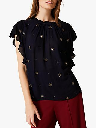 Phase Eight Marcie Embellished Blouse, Navy