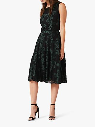 Phase Eight Ariana Clipped Jacquard Dress, Black/Forest