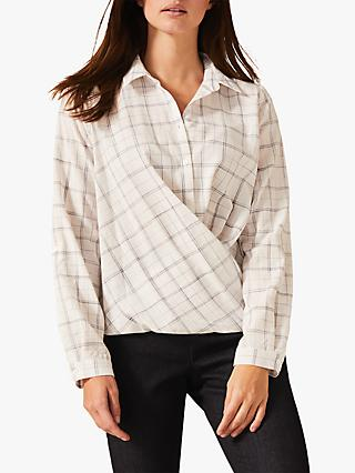 Phase Eight Dorata Check Shirt, White/Grey