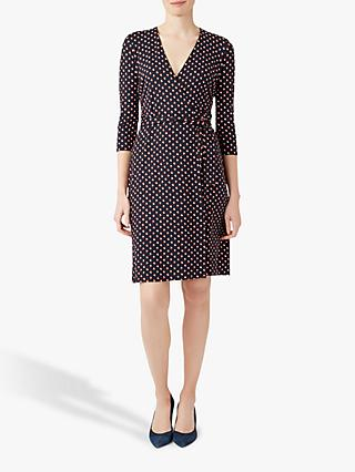 Hobbs Delilah Print Wrap Dress, Navy/Multi
