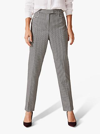 Phase Eight Ridley Dogtooth Tapered Trousers, Black/White