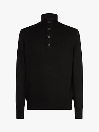 Calvin Klein Button High Neck Sweater, Calvin Black