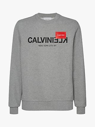 Calvin Klein Reverse Text Logo Sweatshirt, Mid Grey Heather