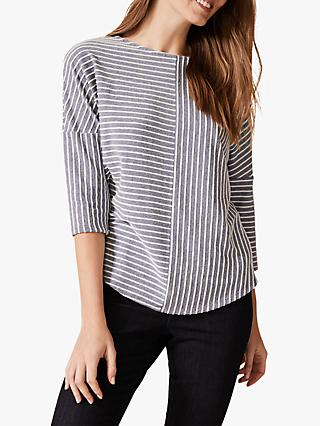 Phase Eight Tess Textured Striped Top, Blue/Ivory