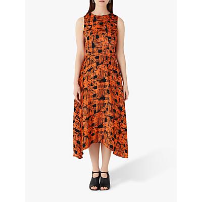 Finery Ashley Cross Hatch Print Dipped Hem Dress, Orange/Multi