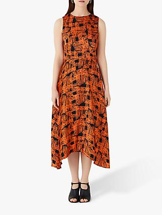 Finery Ashley Cross Hatch Print Dipped Hem Dress, Orange/Multi
