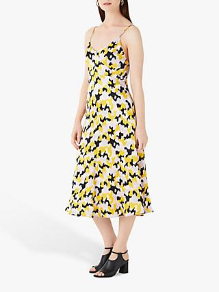 Finery Abbey Printed Satin Cami Dress, Yellow Camo