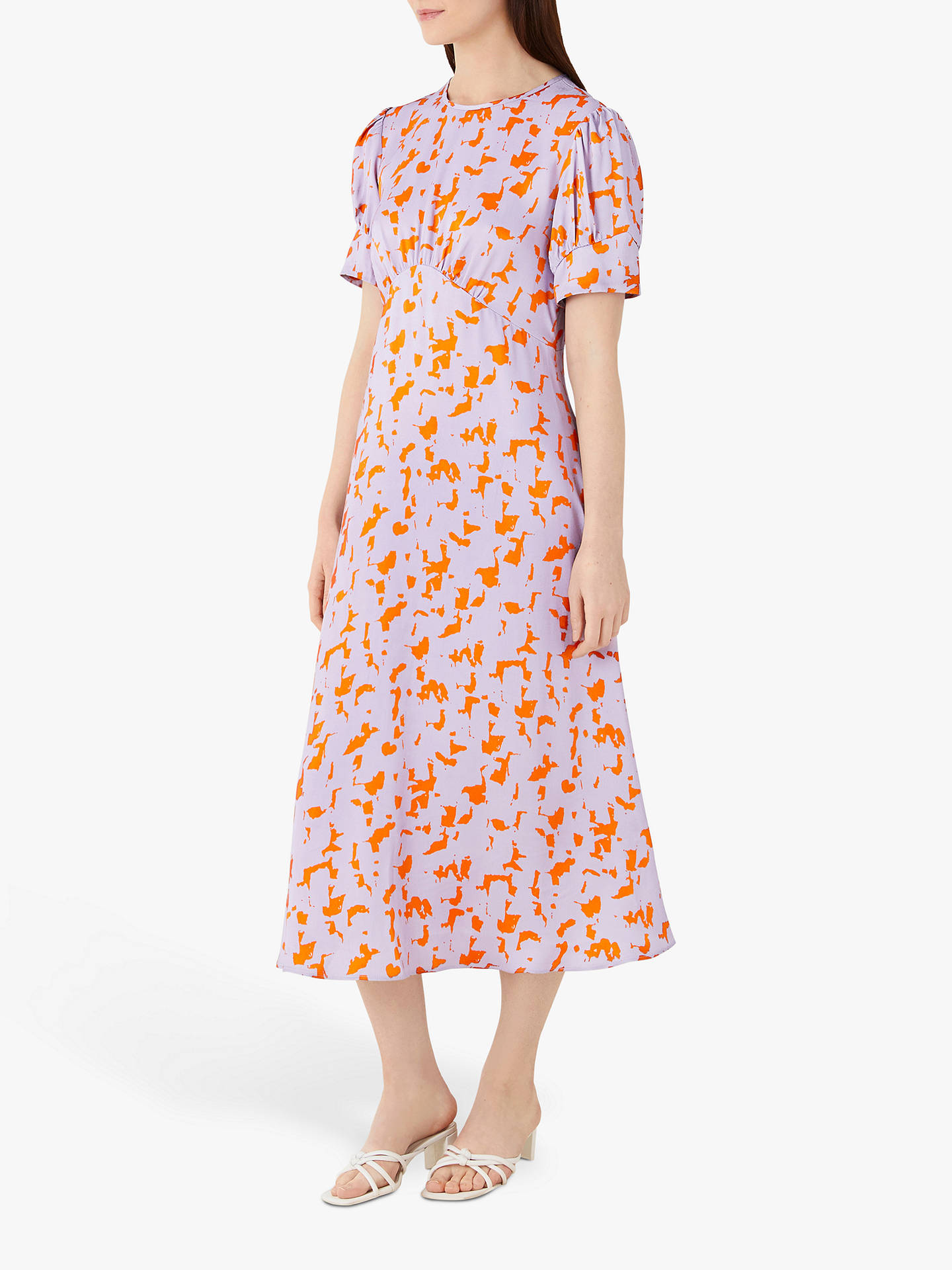 Buy Finery Kamila Megan Abstract Print Midi Dress, Orange/Multi, 10 Online at johnlewis.com