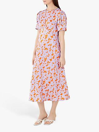 Finery Kamila Megan Abstract Print Midi Dress, Orange/Multi