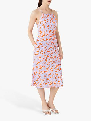 Finery Kamila Abstract Halterneck Midi Dress, Orange/Multi