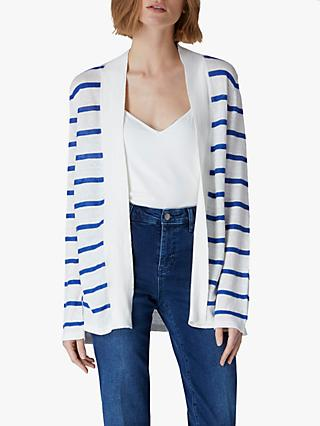 Jaeger Broken Stripe Linen Cardigan, White Multi