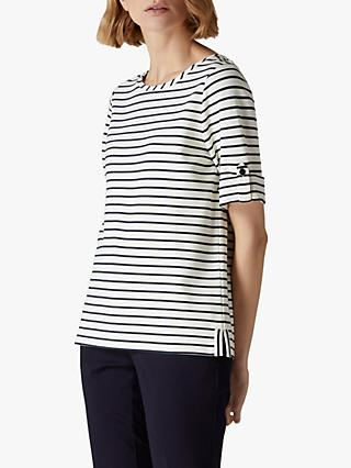 Jaeger Breton Button Cuff Top, Navy