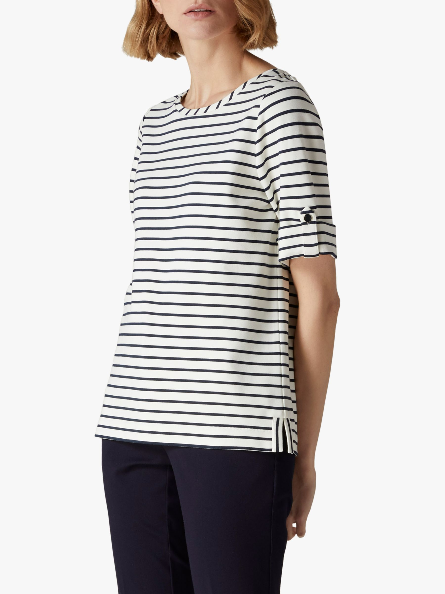 Jaeger Jaeger Breton Button Cuff Top, Navy