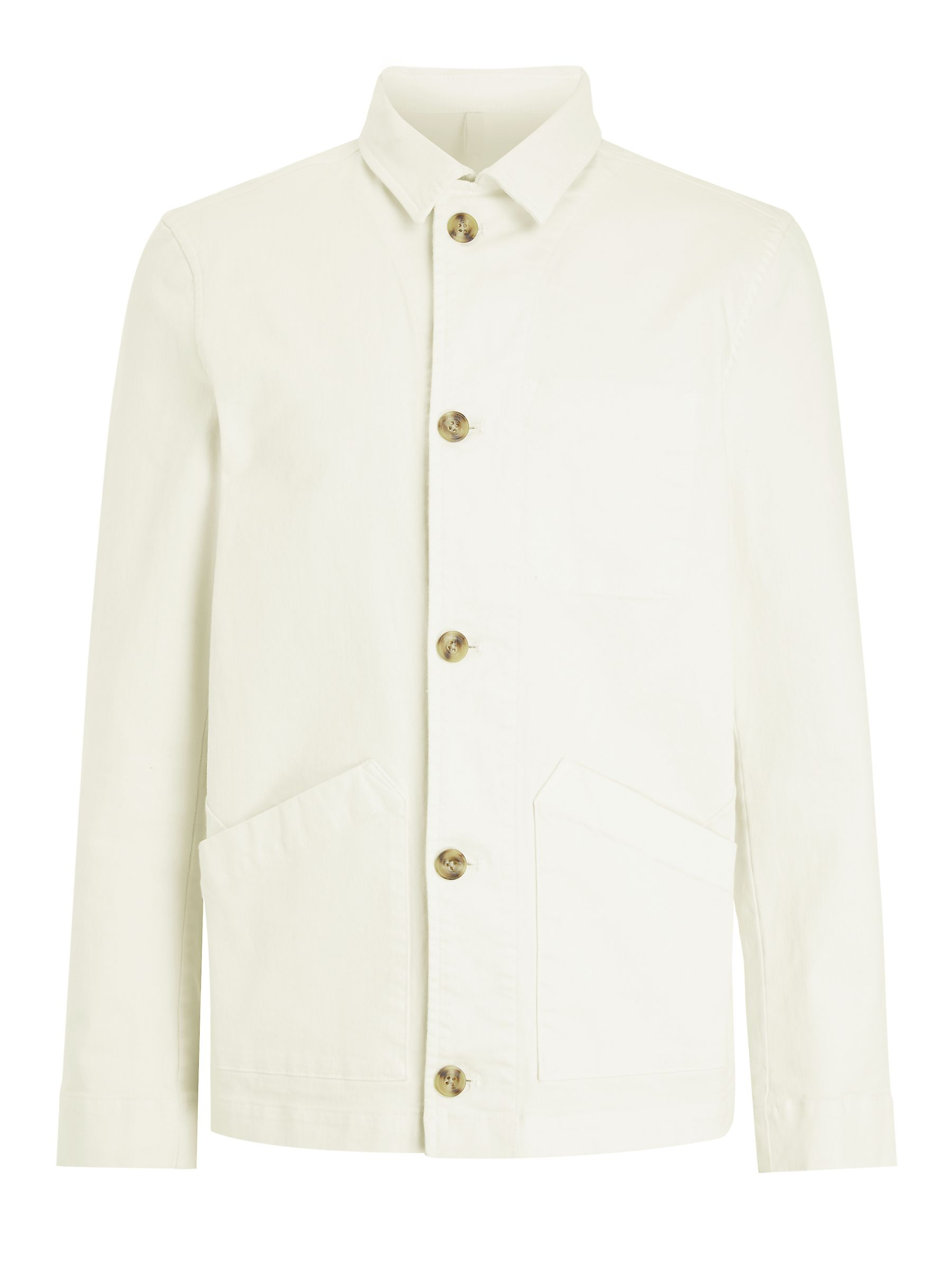 Buy John Lewis & Partners Garment Dye Chore Jacket, Ecru, S Online at johnlewis.com