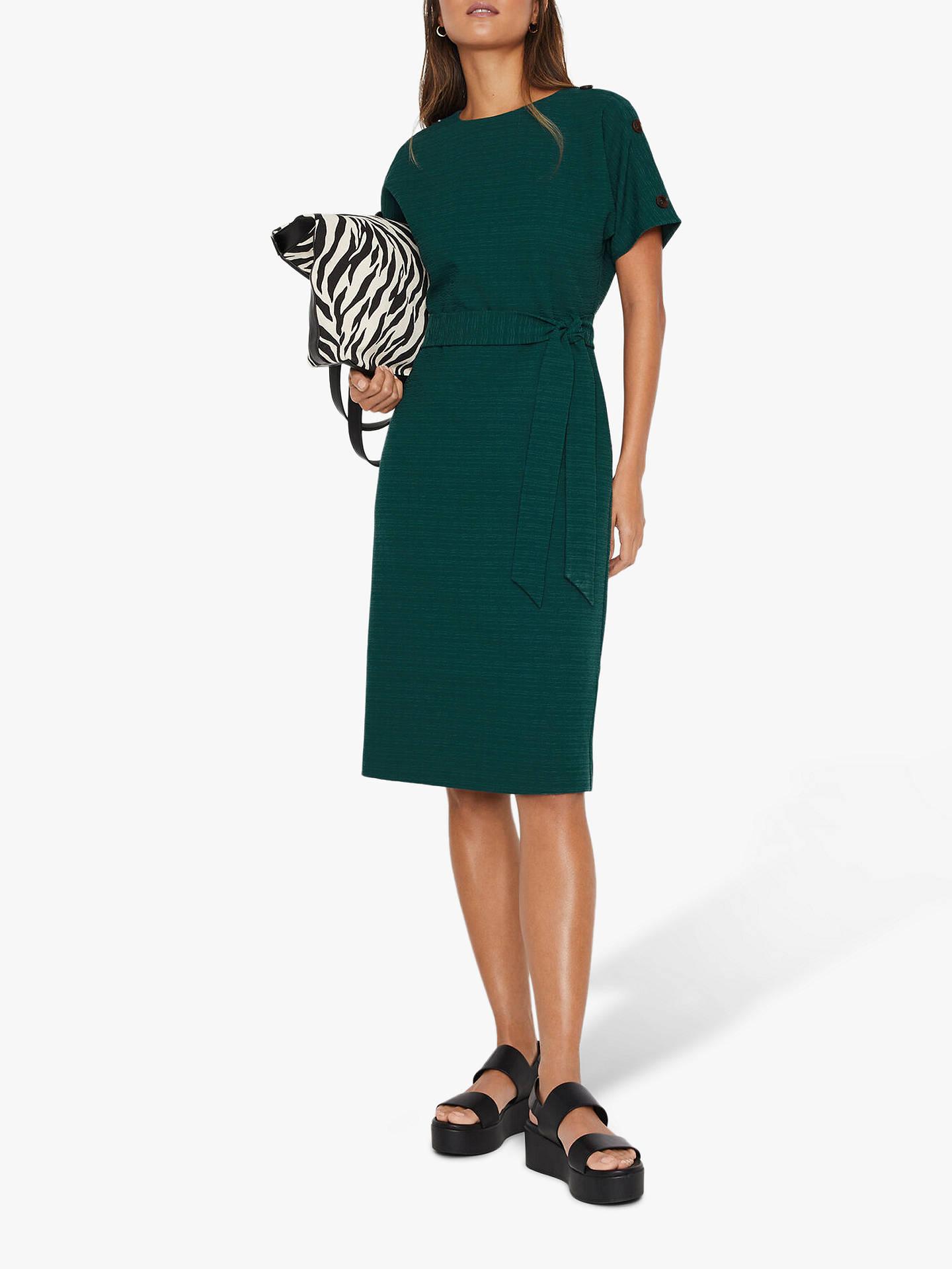 Warehouse Tie Waist Crinkle Dress, Dark Green by Warehouse