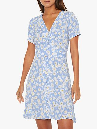 Warehouse Daisy Mini Tea Dress, Blue Pattern