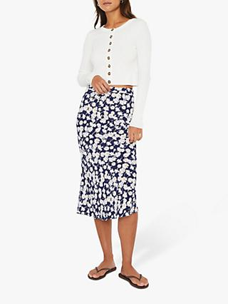 Warehouse Daisy Midi Slip Skirt, Navy