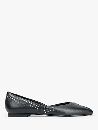 hush Berwick Leather Stud Detail Ballerina Pumps
