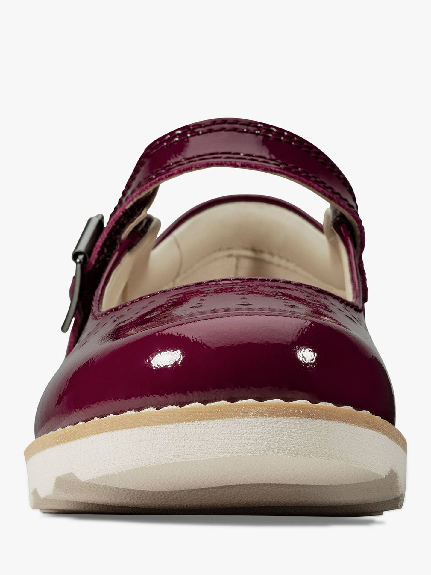 Clarks Children's Crown Jump Patent Buckle Shoes, Plum