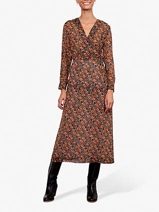 Gerard Darel Dena Floral Print Midi Dress, Black/Multi
