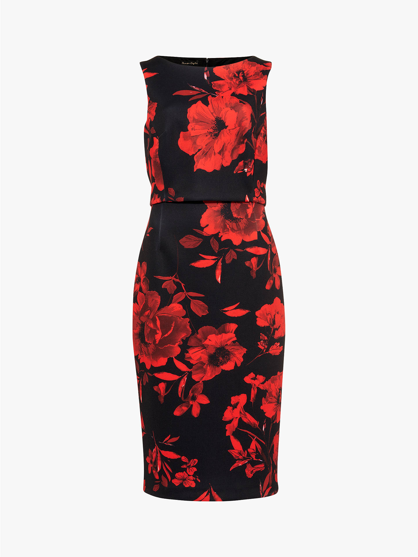 Buy Phase Eight Rose Double Dress, Black/Scarlet, 6 Online at johnlewis.com