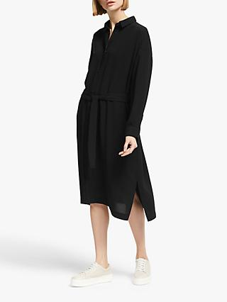 Kin Gathered Back Shirt Dress, Black