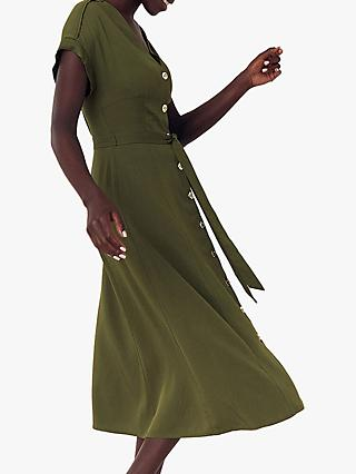 Oasis Button Tie Wrap Midi Dress, Khaki