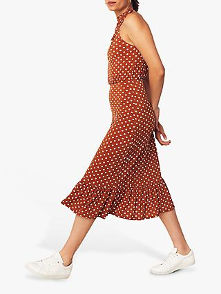 Oasis Spot Sprint Halter Dress, Brown