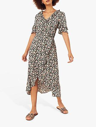 Oasis Crushed Ditsy Floral Wrap Dress, Multi