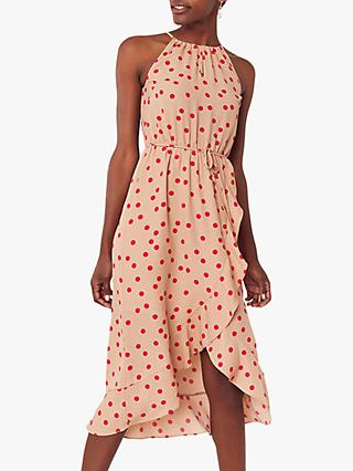 Oasis High Neck Spot Midi Dress, Natural/Multi