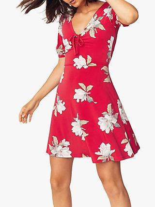 Oasis Floral Print Skater Dress, Mid Red