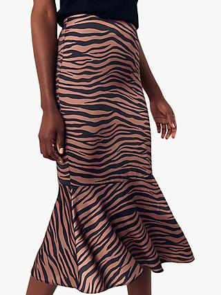 Oasis Tiger Print Peplum Midi Skirt, Neutral/Black