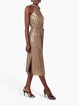 Oasis Metallic Tie Neck Dress, Gold