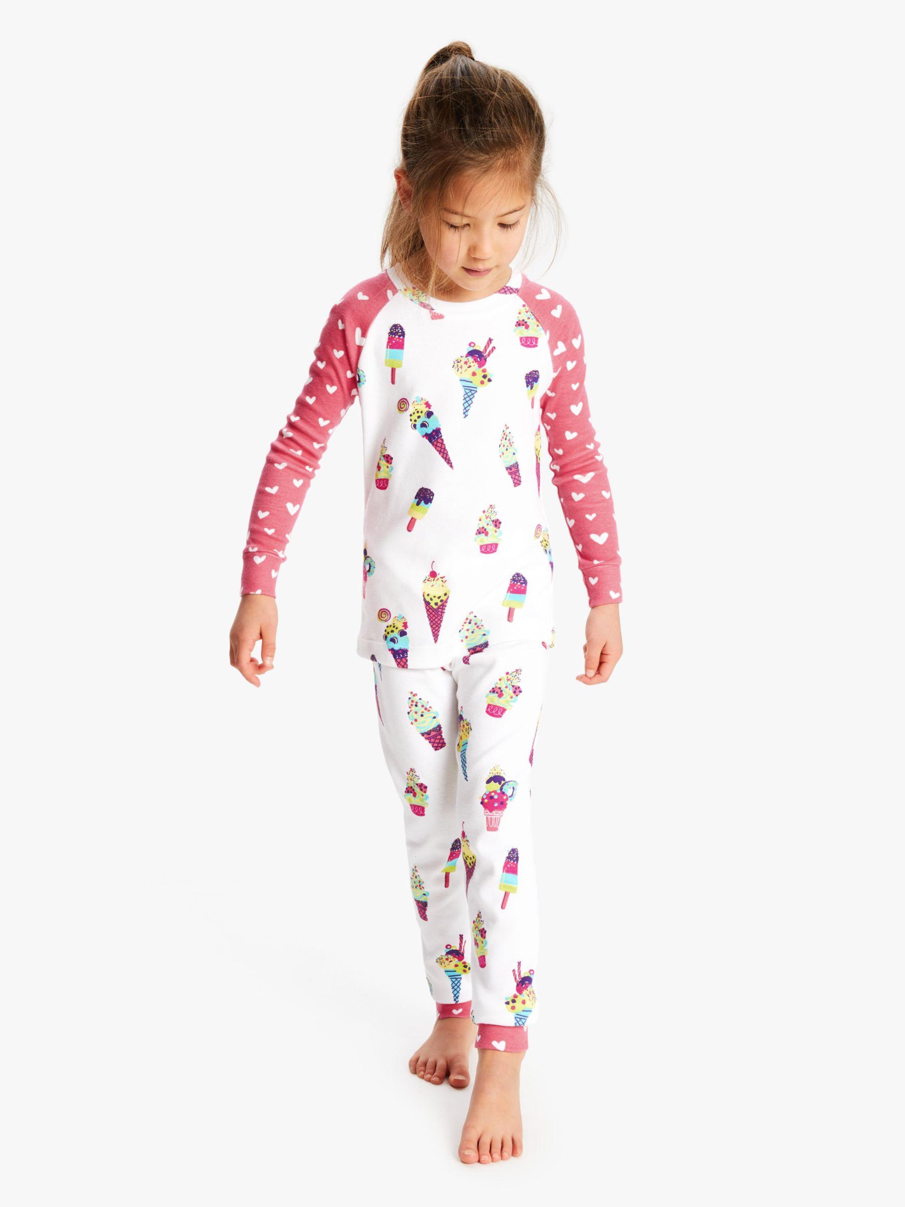 Hatley Hatley Girls' Ice Cream Print Pyjamas, White/Pink