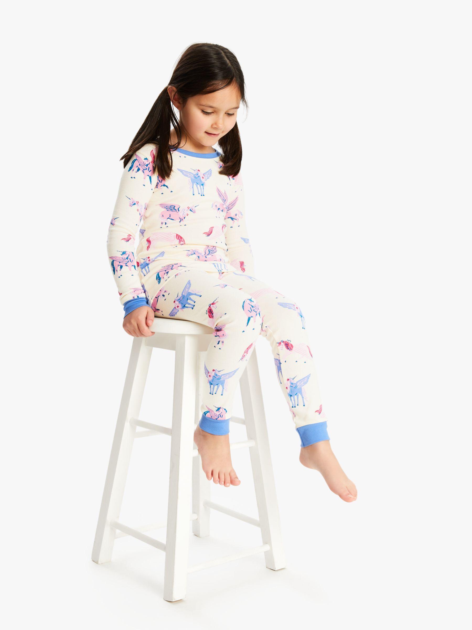 Hatley Hatley Girls' Unicorn Print Pyjamas, White