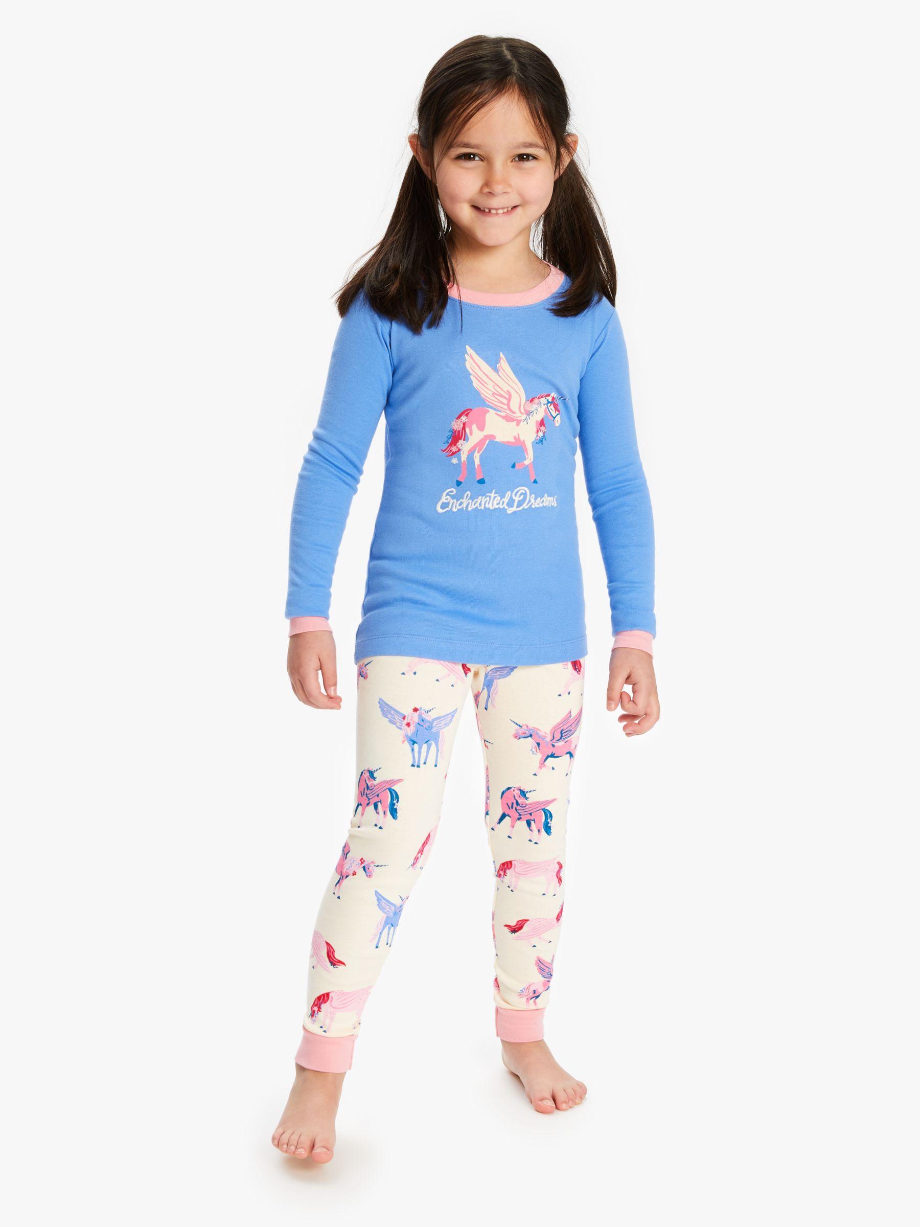 Hatley Hatley Girls' Mystical Unicorns Print Pyjamas, Blue/Multi