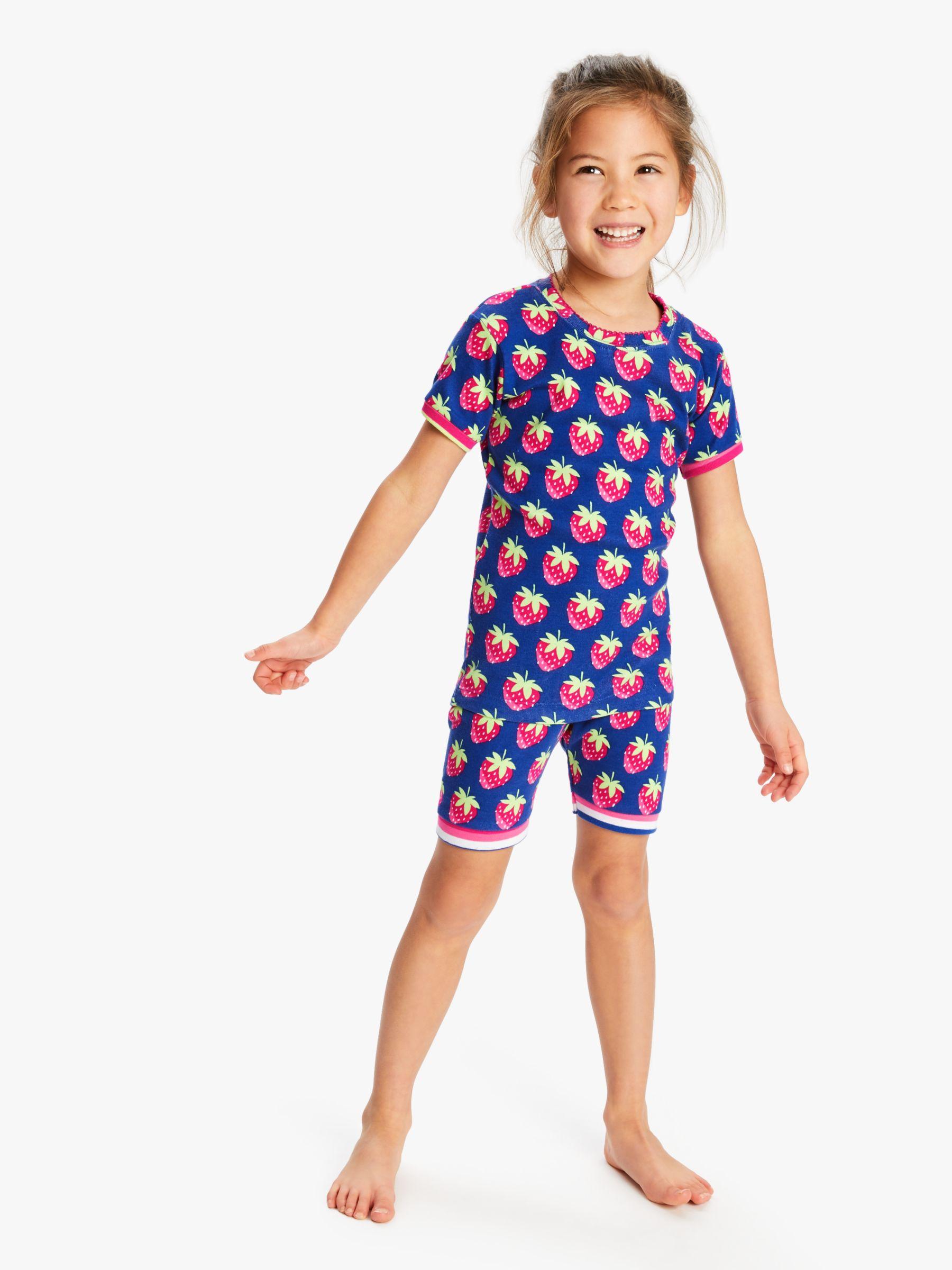 Hatley Hatley Girls' Strawberry Print Short Pyjamas, Blue