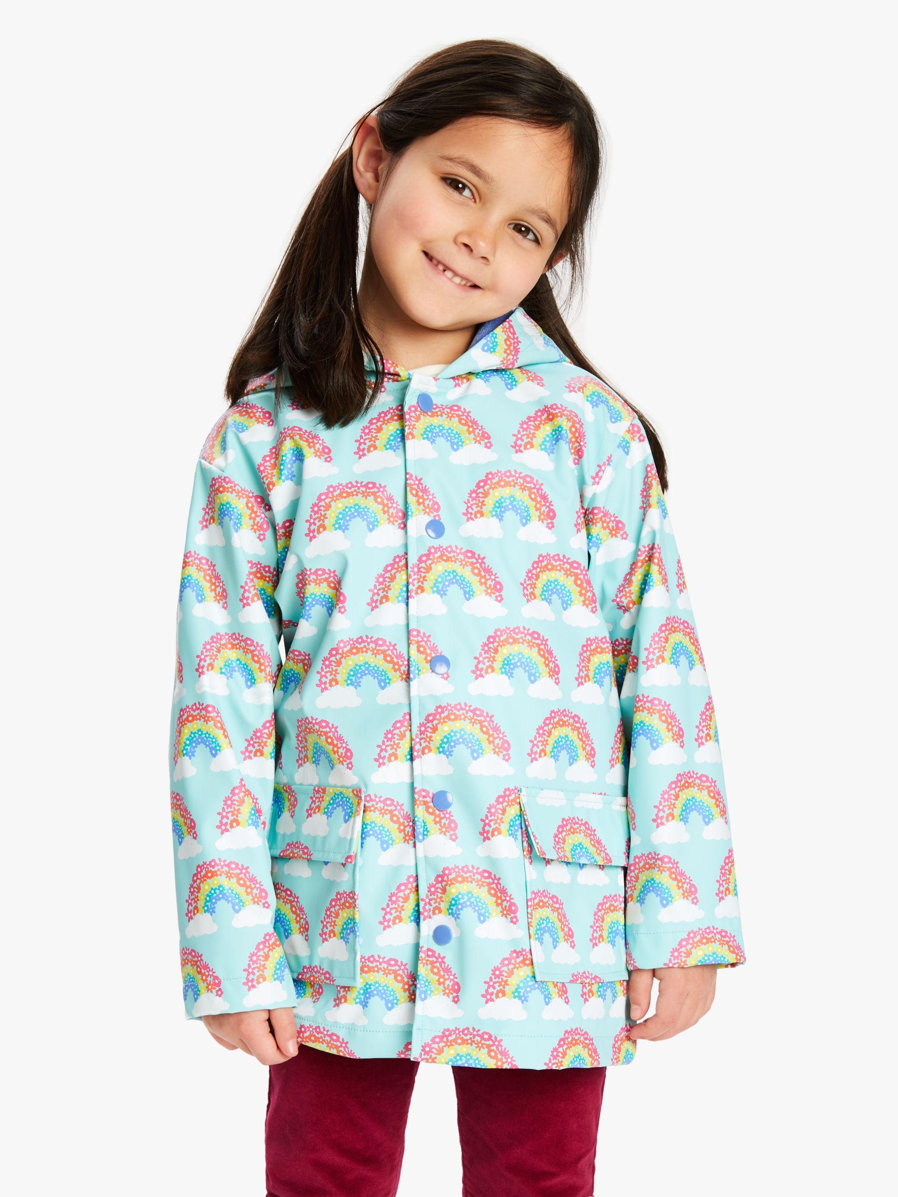 Hatley Hatley Girls' Magical Rainbows Raincoat, Blue