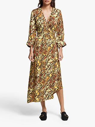 Gestuz Chella Snake Print Dress, Black/Yellow