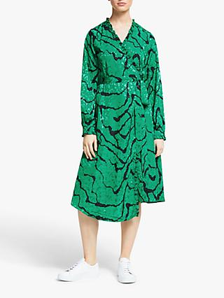 Gestuz Aylin Wrap Dress, Green Ripple
