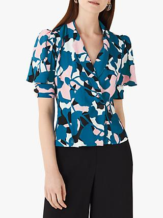Finery Merton Printed Button Front Blouse, Blue