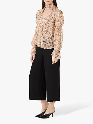 Finery Maygrove Neck Tie Abstract Print Chiffon Blouse, Blush/Black