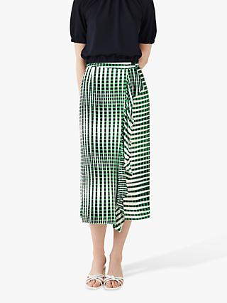 Finery Lisson Linear Print Wrap Skirt, Green/Multi