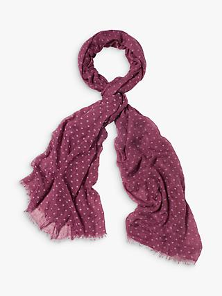 White Stuff Heart Flock Dreaming Away Scarf, Berry Purple Print