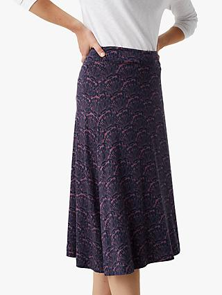 White Stuff Chestern Shell Print Jersey Skirt, Berry Purple