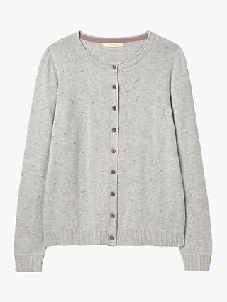 White Stuff Harvey Cotton Bobble Cardigan, Silver Grey