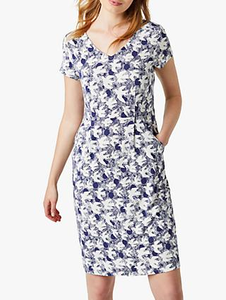 White Stuff Chile Bird Print Dress, Sea Blue
