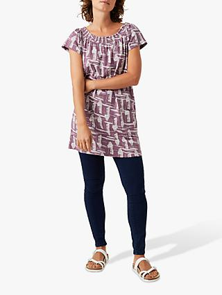 White Stuff Zanzi Bardot Jersey Tunic, Berry Purple Print