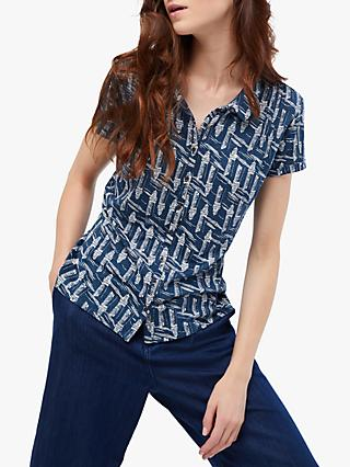 White Stuff Memon Printed Linen Shirt, Blue/Multi